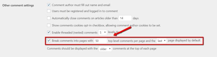 break comments into pages