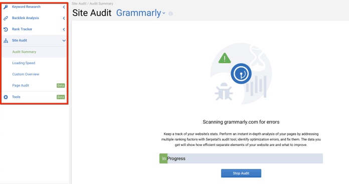 serpstat site audit results