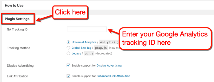 GA Google Analytics Plugin Settings