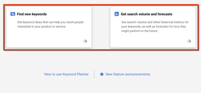 Keyword Planner Start Options