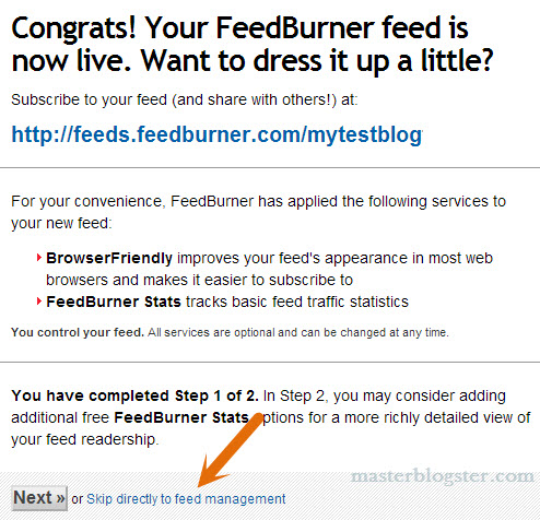 feedburner setup for WordPress