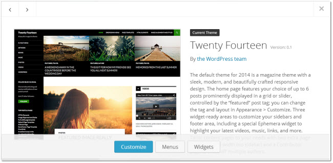 new wordpress theme selection