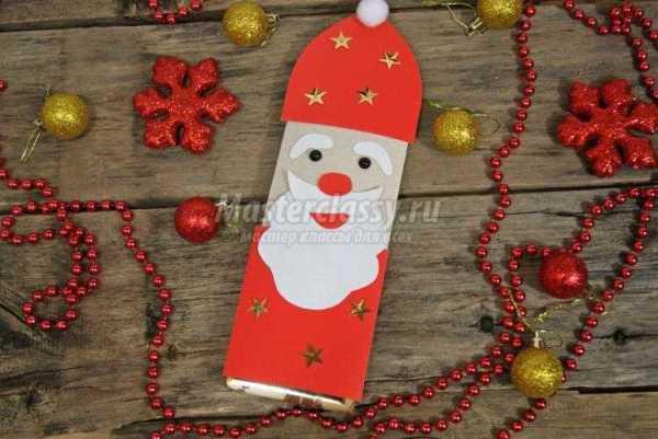 Новогодняя упаковка шоколада. Дед Мороз и олень. Мастер ...