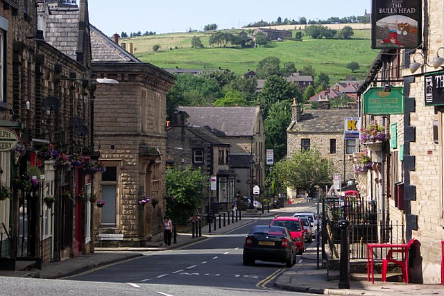 View down Delph main street