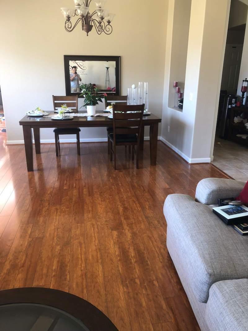 living/dining room  finished flooring installation