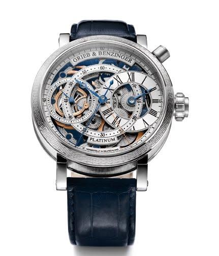 GRIEB & BENZINGER Blue Sensation Split-Seconds Skeleton Regulator Chronograph in Solid Platinum