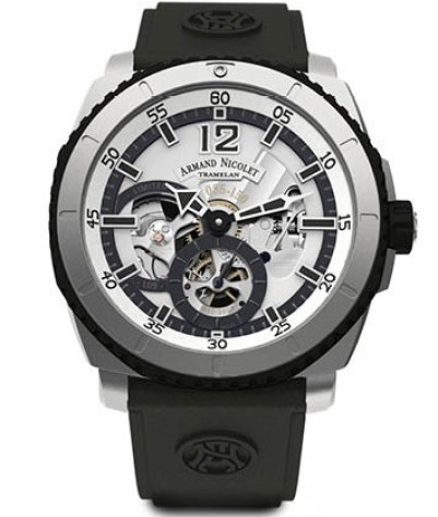 Armand Nicolet L09 Limited Edition titanium model with black rubber brand