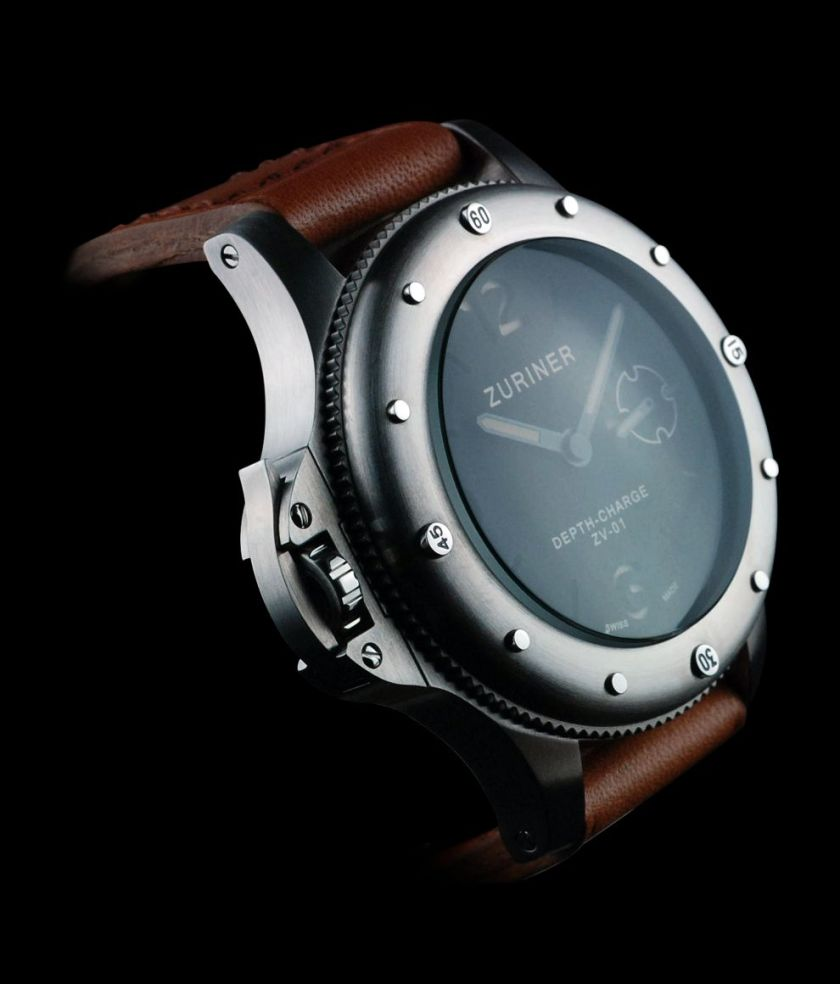 zuriner depth charge stainless steel diving watch