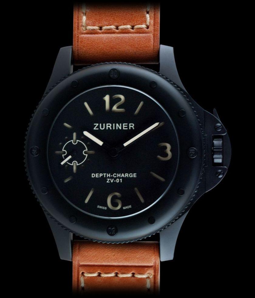 zuriner depth charge black DLC watch