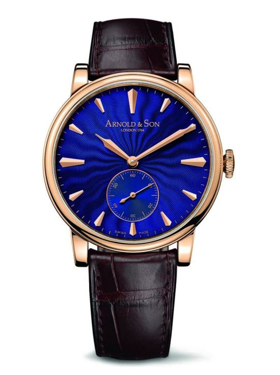 Arnold and Son HMS1 Royal Blue watch with rose gold case