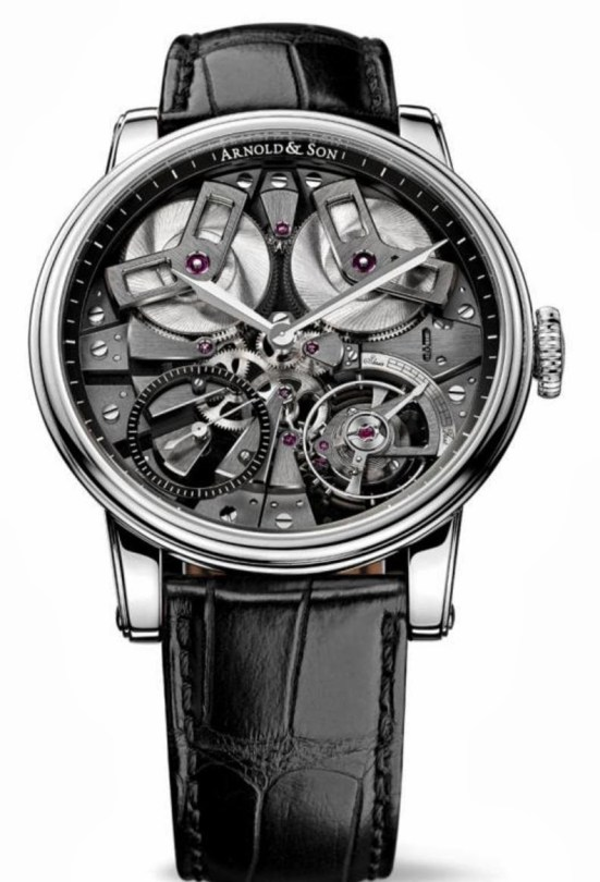 Arnold and Son TB88 watch with Stainless steel case and black open dial
