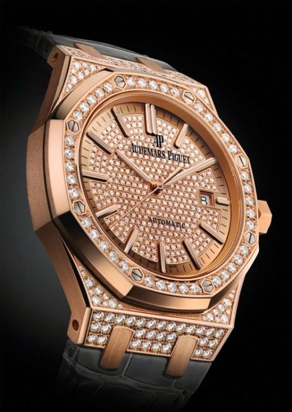 Audemars Piguet Royal Oak 41mm Pink Gold Set with Diamonds
