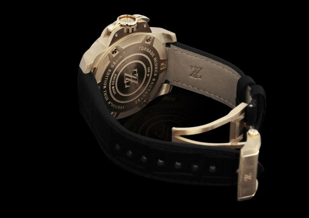 ZZ Tornade automatic pink gold watch case back and straps