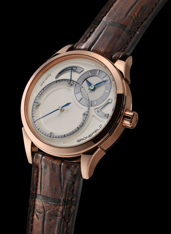 Gronefeld – New One Hertz watch with 18ct Red Gold Case, and Silver Dial