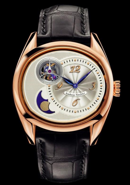 Andreas Strehler Sauterelle à Lune perpétuelle 2M watch red gold