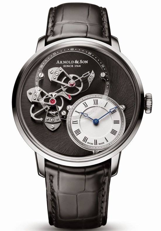 Arnold and Son DSTB (Dial Side True Beat) limited edition watch in stainless steel and Silvery opaline, sapphire dial