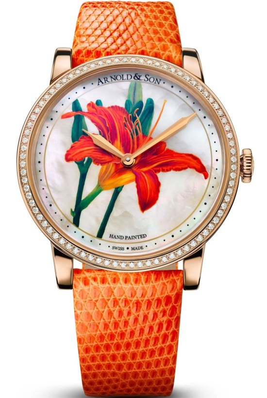 Arnold and Son HM Flower edition watch with Hand-painted miniature on white mother-of-pearl dial
