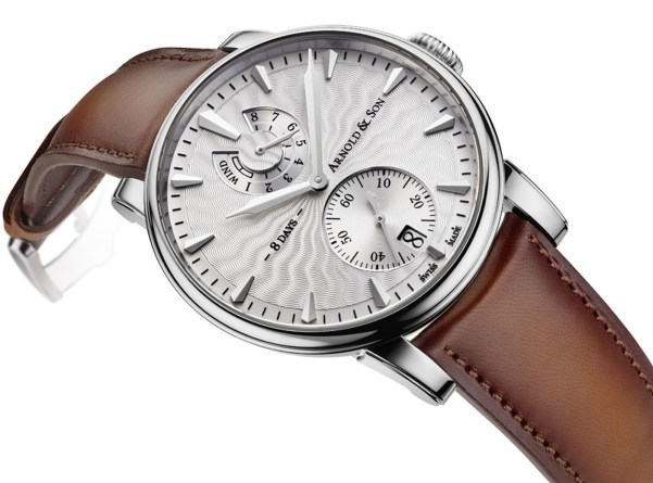 Arnold and Son Eight-Day Royal Navy Stainless steel watch with silver Guilloché polished lacquer dial