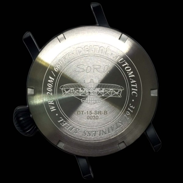 DELTAt SoRa Pilot watch case back