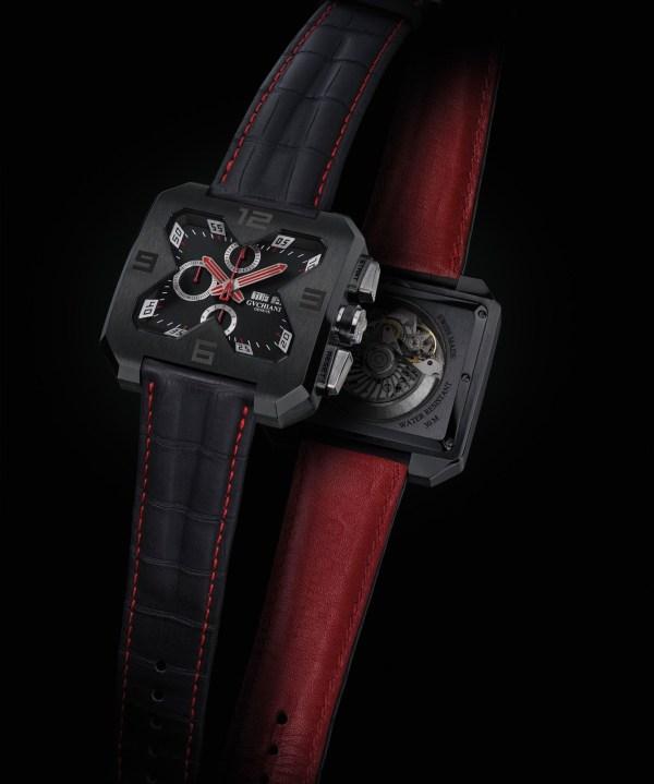 GVCHIANI GENÈVE BIG SQUARE chronograph black dlc case