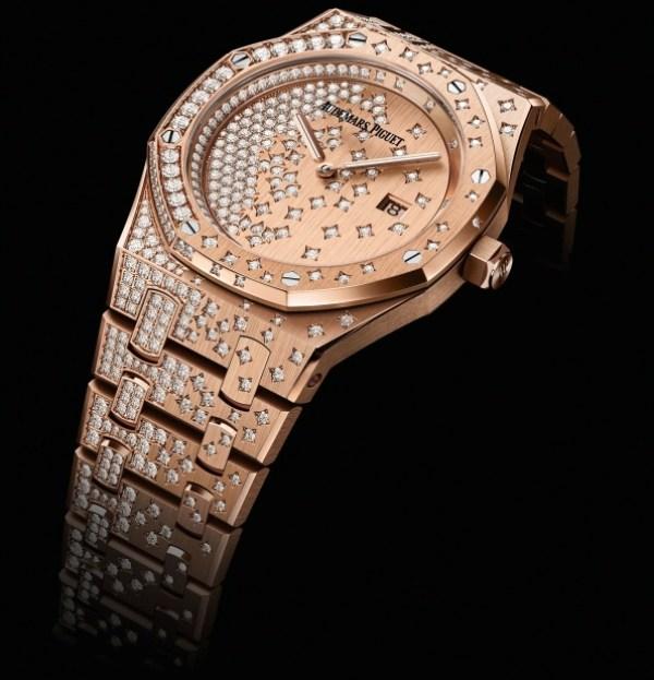 Audemars Piguet Royal Oak Quartz watch diamond set pink gold case