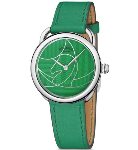 Hermès Arceau Casaque watch green dial with vertigo green strap