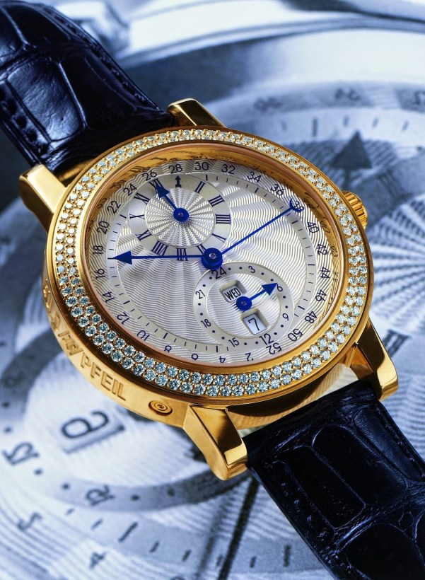 GOLDPFEIL GENEVE Double Time-Zone and Week Displays by Bernhard Lederer, Exclusive Collection