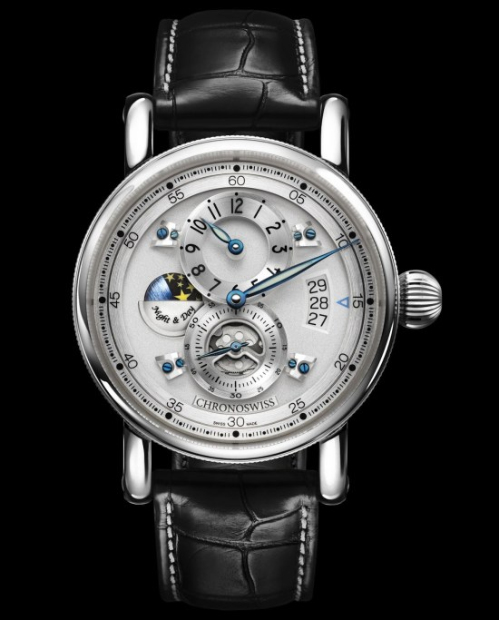 Chronoswiss Flying Regulator Night and Day watch CH-8763-SISI Stainless steel case galvanic silver dial