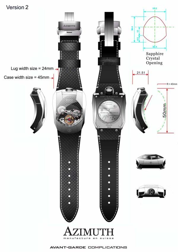 Azimuth Twin Barrel Tourbillon watch version 2