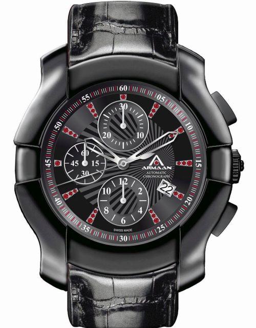 Armaan Swiss Diamond Black DLC Chronograph