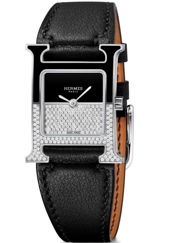 Hermès Heure H Double Jeu watch black dial horizontal setting