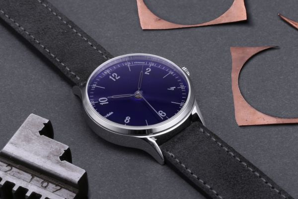 anOrdain Model 1 watch with translucent blue enamel dial