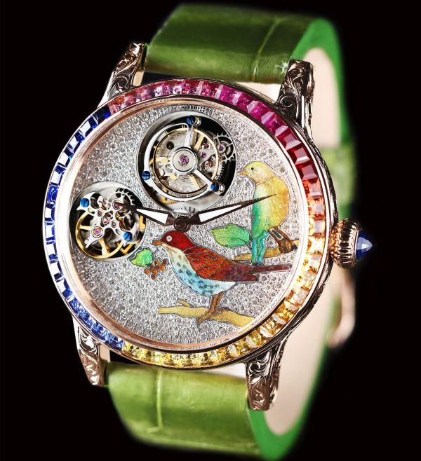 ANPASSA Enamel Double Tourbillon Watch