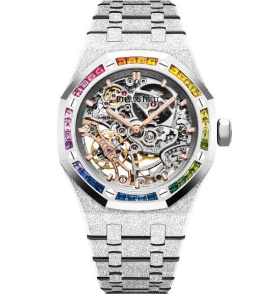 Audemars Piguet Royal Oak Frosted Gold Double Balance Wheel Open-worked 37mm, Set with Rainbow Coloured Sapphires