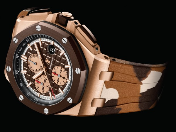"""Audemars Piguet Royal Oak Offshore Self-winding Chronograph 44mm Pink Gold Version with Brown Ceramic bezel, Brown dial and brown """"Camouflage"""" rubber strap"""