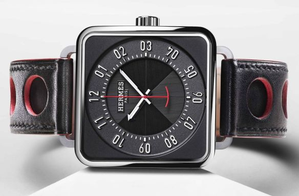 """e5ecb0f8e The Carré H """"architect's watch"""" displays a sporty touch with a new black or  natural Barenia calf strap with perforation reflecting the circular  geometry of ..."""