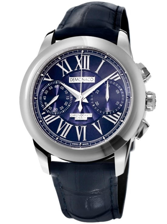 Ateliers deMonaco Admiral Chronographe Flyback Armure Stainless steel model with blue dial