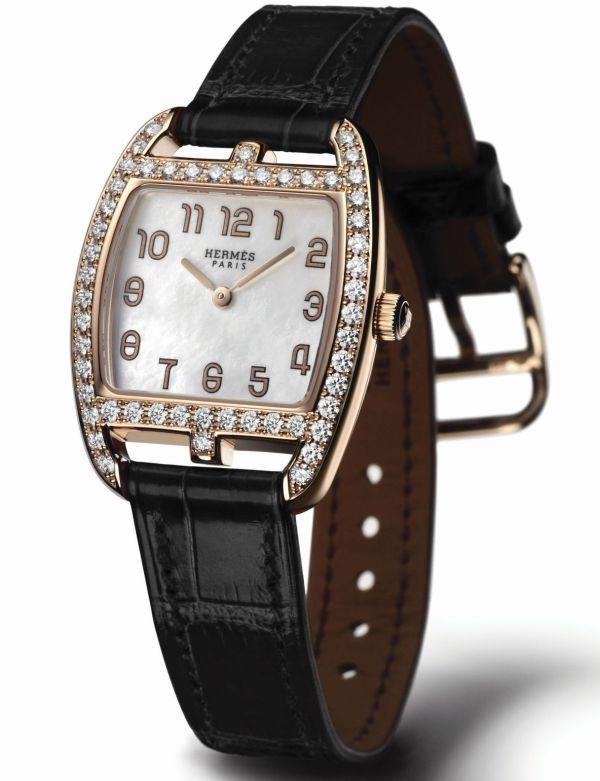 Hermès Cape Cod Tonneau Gem-Set Rose Gold watch for ladies