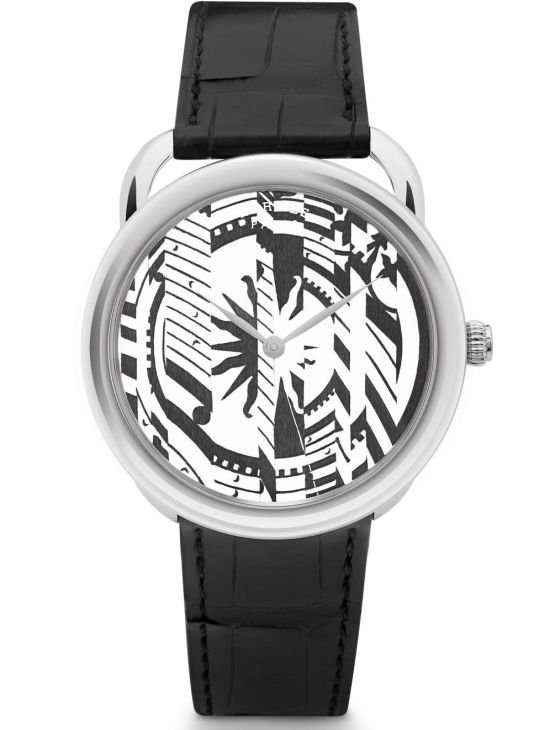 Hermès Arceau Astrologie Nouvelle Limited Edition watch with Wood marquetry dial