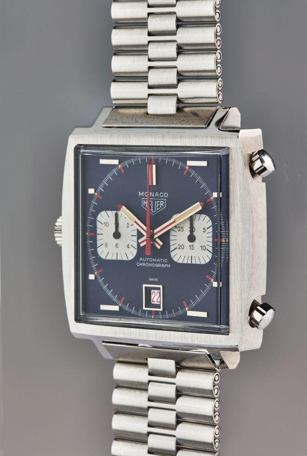 TAG Heuer, Piece d'Art An extraordinary and unique stainless steel 50th anniversary chronograph wristwatch with bracelet, guarantee, unique presentation box, original drawing, and accessories
