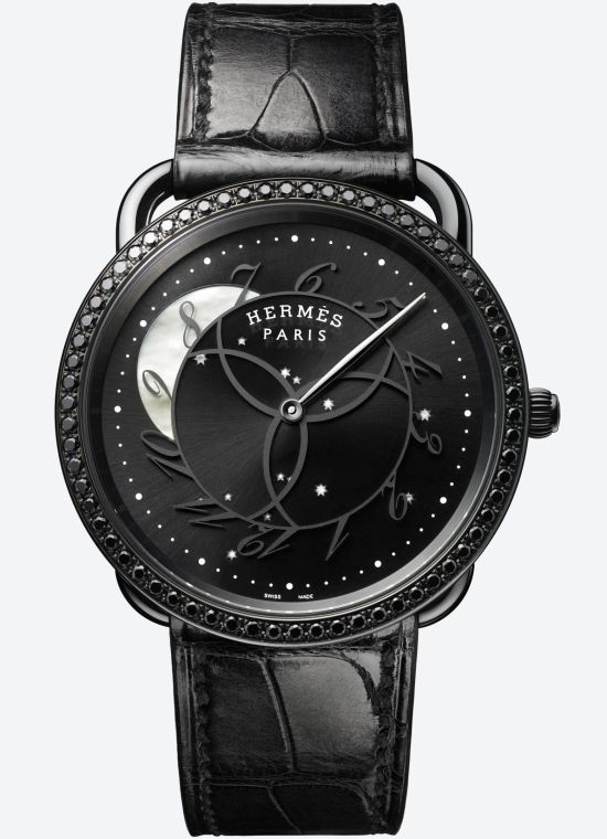 Hermès Arceau Ronde Des Heures Limited Edition watch with black pvd case and Black-coated glossy sunburst dial