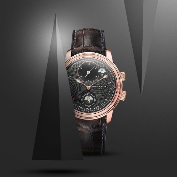 Parmigiani Fleurier Toric Hémisphères Rétrograde Slate (With New Slate-Coloured Guilloché Dial) rose gold case