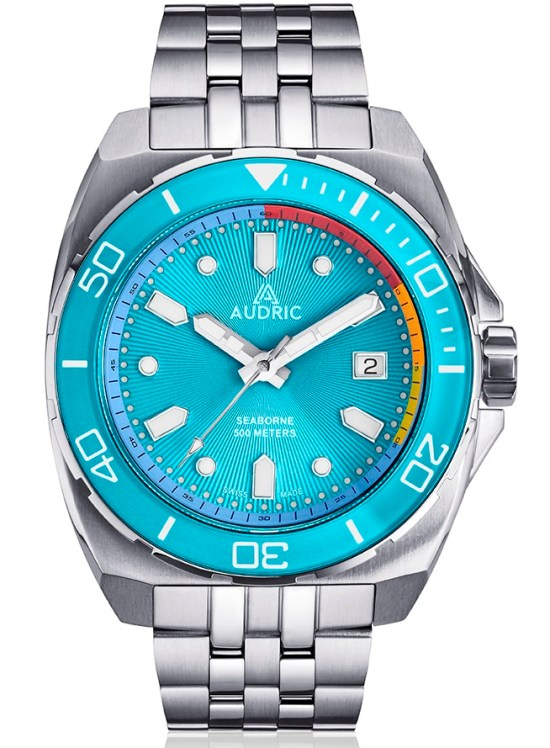 AUDRIC SEABORNE Swiss Made Automatic Diving Watch blue dial