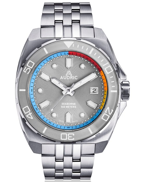 AUDRIC SEABORNE Swiss Made Automatic Diving Watch grey dial