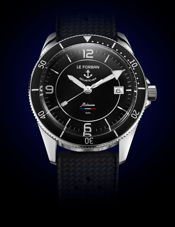Black dial version - Le Forban Sécurité Mer 'Malouine' Limited Edition diving watch. 150 meters water resistance. Stainless steel case with 38.4 mm diameter. Automatic Miyota 8215 movement