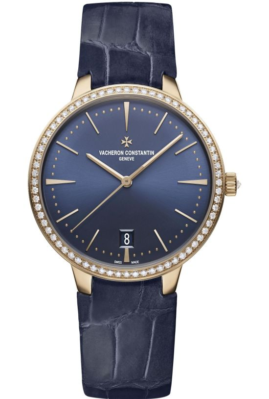 Vacheron Constantin Patrimony Self-Winding, New Pink Gold Models with Sunburst Satin-Finish Blue Dial - Gemset version