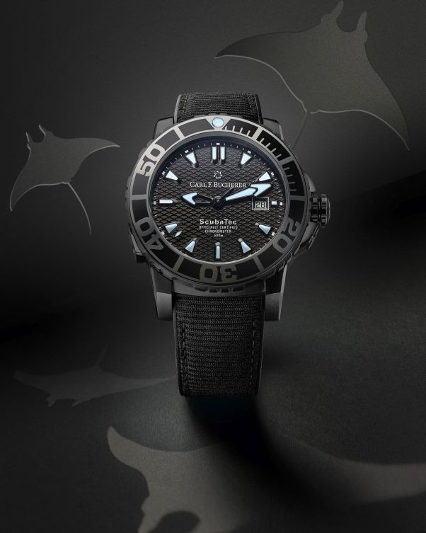 ScubaTec Black with strap from recycled plastic (PPR/Carl F. Bucherer)
