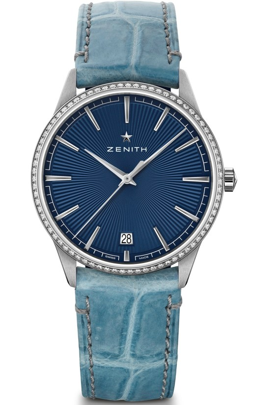 Zenith ELITE CLASSIC - 36MM blue sunray pattern dial diamond set bezel