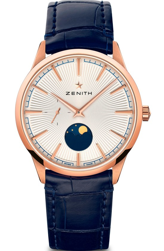 zenith ELITEMOONPHASE– 40.5MM rose gold case silver toned dial