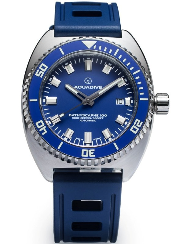 "AQUADIVE BATHYSCAPHE 100 ""STEEL BLUE"" diving watch 1000 meters"